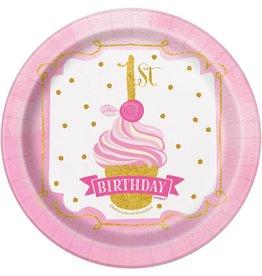 Bordjes Pink/Goud 1ste Verjaardag (18 cm, 8 stuks)