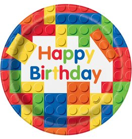 Bordjes Building Blocks Happy Birthday (23 cm, 8 stuks)