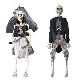 Hangdecoratie Halloween Deluxe Skelet Bruid en Bruidegom Assorti ( 5,5 x 9 x 42 cm)