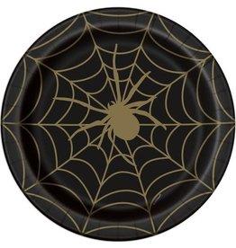 Bordjes Spinnenweb Zwart/Goud (23 cm, 8 stuks)
