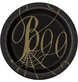 Bordjes Spinnenweb Boo Zwart/Goud (18 cm, 8 stuks)