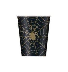 Bekertjes Spinnenweb Zwart/Goud (25 cl, 8 stuks)