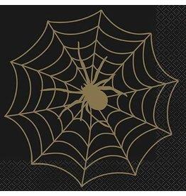 Servetten Spinnenweb Zwart/Goud (16 stuks)