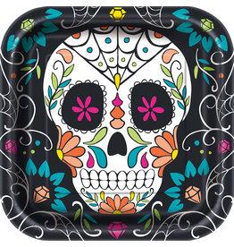 Bordjes Skull Day of the Dead (23 cm, 8 stuks)
