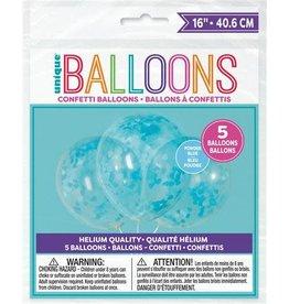 Ballon Transparant met Blauwe Hartjes Confetti (40 cm, 5 stuks)