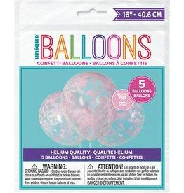 Ballon Transparant met Roze Hartjes Confetti (40 cm, 5 stuks)