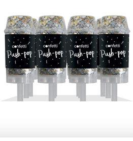 Confetti Push-Popper Hartjes Metallic Zilver/Wit