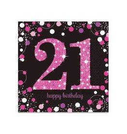 Servet Sparkling Pink 21 jaar (33 cm, 16 stuks)