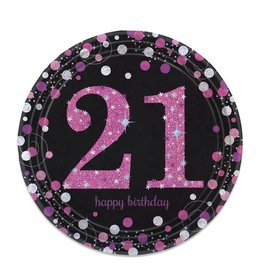 Bordjes Sparkling Pink 21 jaar (23 cm, 8 stuks)