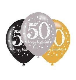 Ballonnen Sparkling Gold 50 jaar (28 cm, 6 stuks)
