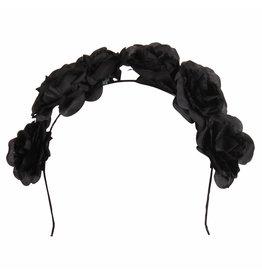 Haarband met Rozen, Zwart