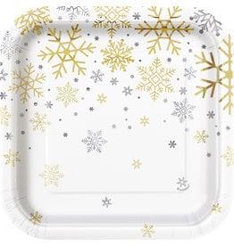 Bordjes Holiday Snowflakes (8 stuks, 18 x 18 cm)