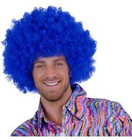 Super Afro Pruik Felblauw