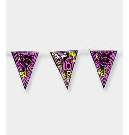 Neon Party Vlaggenlijn - Sweet 16