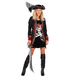 Themakostuum Dame Piraat, Rood-Zwart
