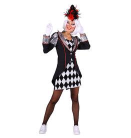 Themakostuum Clown Pierro, Zwart-Zilver