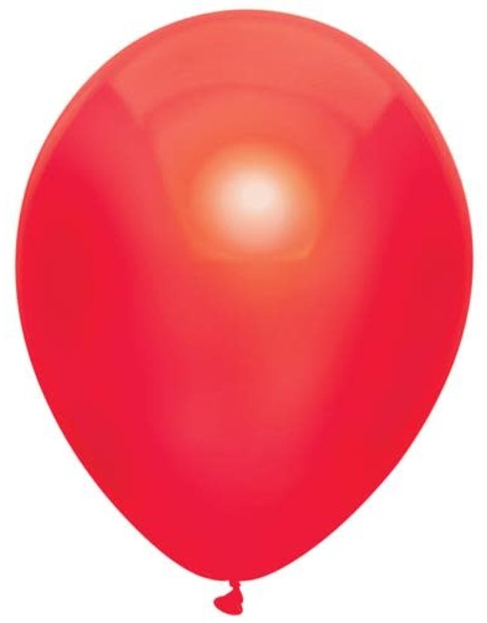 Haza Ballonnen Uni Metallic Rood (30 cm, 100 stuks)