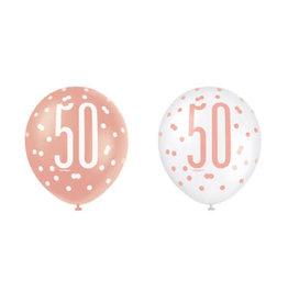 Ballonnen Glitter Rozé Goud 50 (30 cm, 6 stuks)