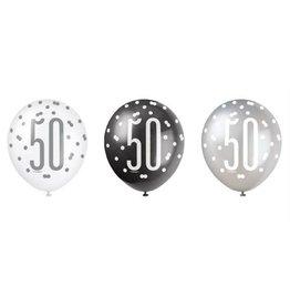 Ballonnen Glitter Zwart/Zilver 50 (30 cm, 6 stuks)