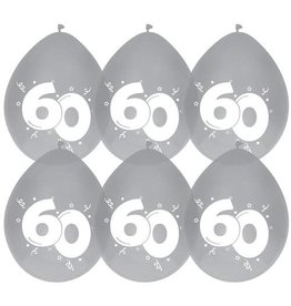 Haza Ballonnen Diamant 60 jaar (30 cm, 6 stuks)