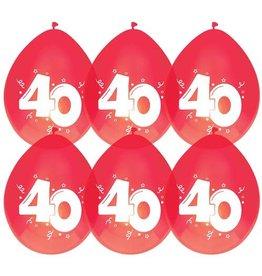 Haza Ballonnen Robijn 40 jaar (30 cm, 6 stuks)
