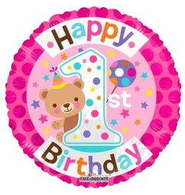 Folie Ballon Happy 1st Birthday, Meisje (45 cm)