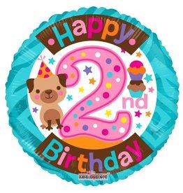 Folie Ballon Happy 2nd Birthday, Meisje (45 cm)