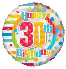 Folie Ballon Happy 30th Birthday (45 cm)