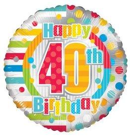 Folie Ballon Happy 40th Birthday (45 cm)