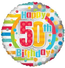 Folie Ballon Happy 50th Birthday  (45 cm)