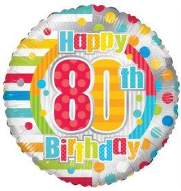 Folie Ballon Happy 80th Birthday (45 cm)