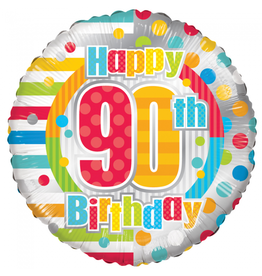 Folie Ballon Happy 90th Birthday (45 cm)