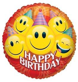 Folie Ballon Happy Birthday met Smileys (45 cm)