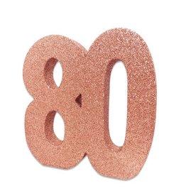 Tafeldecoratie 80 Glitter Roségoud (20 cm)