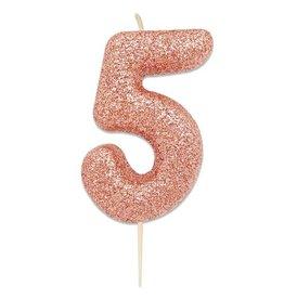 Nummerkaars Glitter Roségoud Cijfer 5 (7 cm)