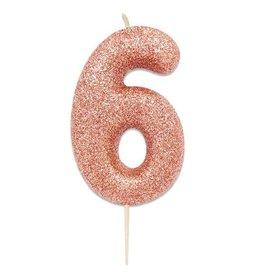Nummerkaars Glitter Roségoud Cijfer 6 (7 cm)