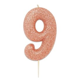 Nummerkaars Glitter Roségoud Cijfer 9 (7 cm)