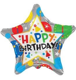 Folie Ballon Ster Happy Birthday, Zilver (45 cm)