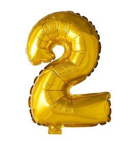 Folie ballon Cijfer 2 Goud (40 cm)