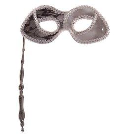Masker Op Stokje Zilver met Zwart