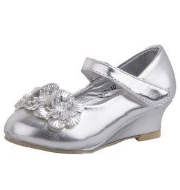 Meisjesschoen Zilver met Sleehakje En Bloemetjes