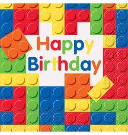 Servetten Building Blocks Happy Birthday (16 stuks)