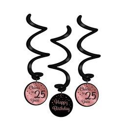 Hangdecoratie Swirl Roze/Zwart - 25