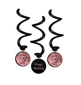 Hangdecoratie Swirl Roze/Zwart - 30