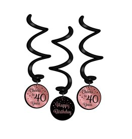 Hangdecoratie Swirl Roze/Zwart - 40