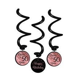 Hangdecoratie Swirl Roze/Zwart - 50