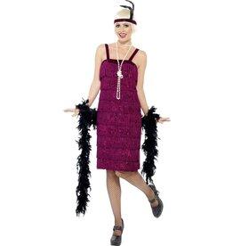 Jazz Flapper Kostuum, Bordeauxrood