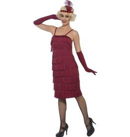 Flapper Kostuum Bordeauxrood, lang