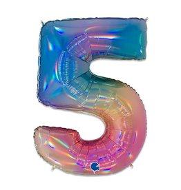 Folie Ballon Cijfer 5 Regenboog (100 cm)