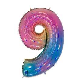 Folie Ballon Cijfer 9 Regenboog (100 cm)